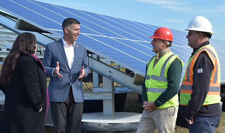 Mike Hein at Solar Energy Installation