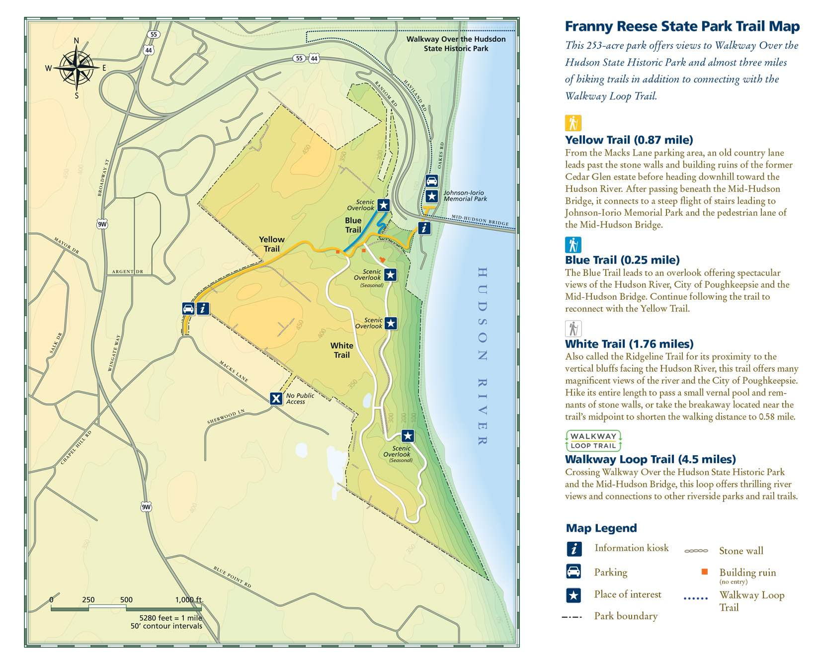 Franny Reese State Park Scenic Hudson - Hudson river on us map