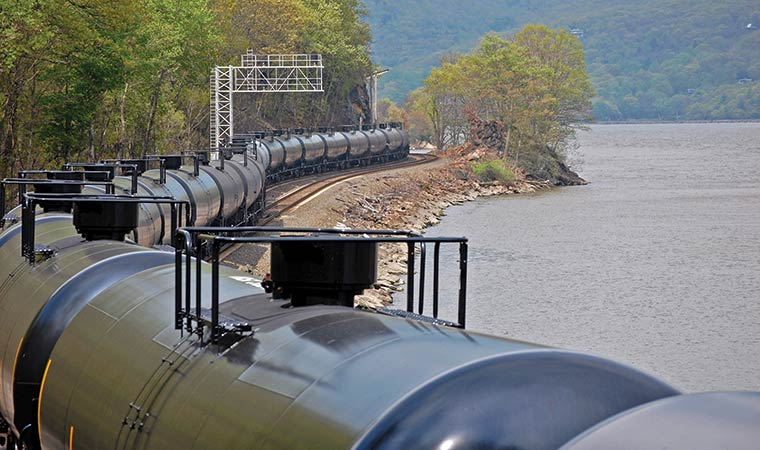 Crude Oil Train along the Hudson