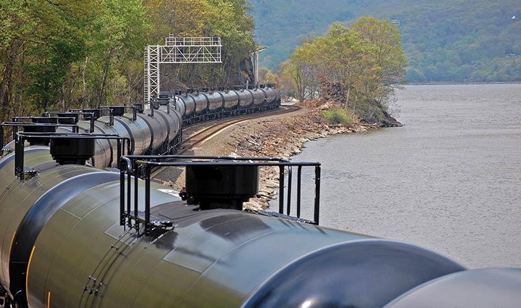 Crude Oil Train along the Hudson