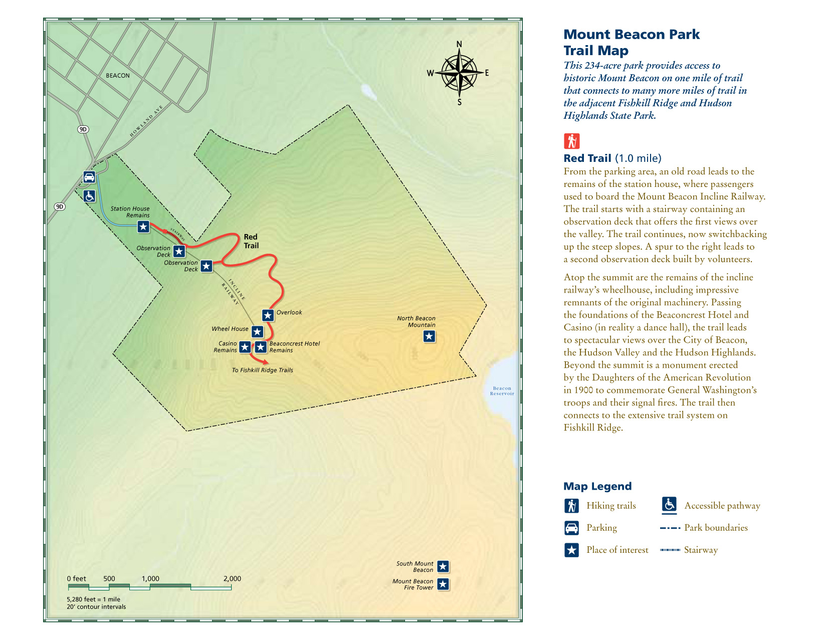 all of the trails described here are also included on the trailconference's east hudson map set which is a must have for people exploringthe trails in . hiking mount beacon via reservoir and descent via casino (red